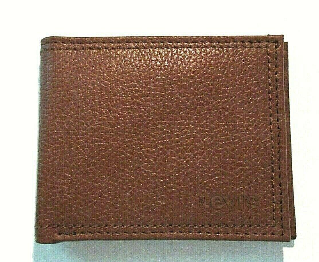 Levi's Mens Genuine Leather Slim Bifold Wallet Brown RFID NWT Ships Free