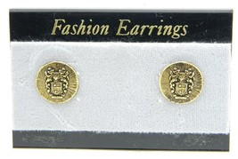 VTG Style Gold Tone Bozzon Shield of Arms Post Earrings - $9.90