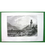 GERMANY Oberwesel on Rhine River - Engraving Antique Print by Birket Foster - $13.05