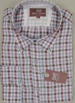 NEW! $145 Hickey Freeman Linen Oxford Shirt!  L  White Blue Red Lavender Plaid - $69.99
