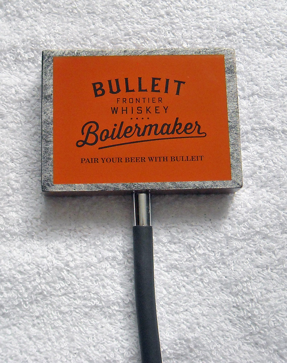 NEW BULLEIT FRONTIER WHISKEY BOILERMAKER TAP CLAMP SIGN - $29.65