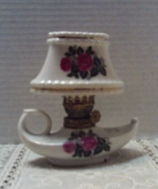 Vintage Ceramic Miniature Oil Lamp Alladin Lamp with Shade Shabby/Cottag... - $9.70