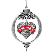 Inspired Silver Red Middle Sister Pave Heart Holiday Christmas Tree Ornament Wit - $14.69
