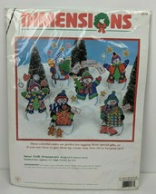 Vintage NIP Dimensions Needlepoint Snow Folk Christmas Ornaments Set of ... - $23.76