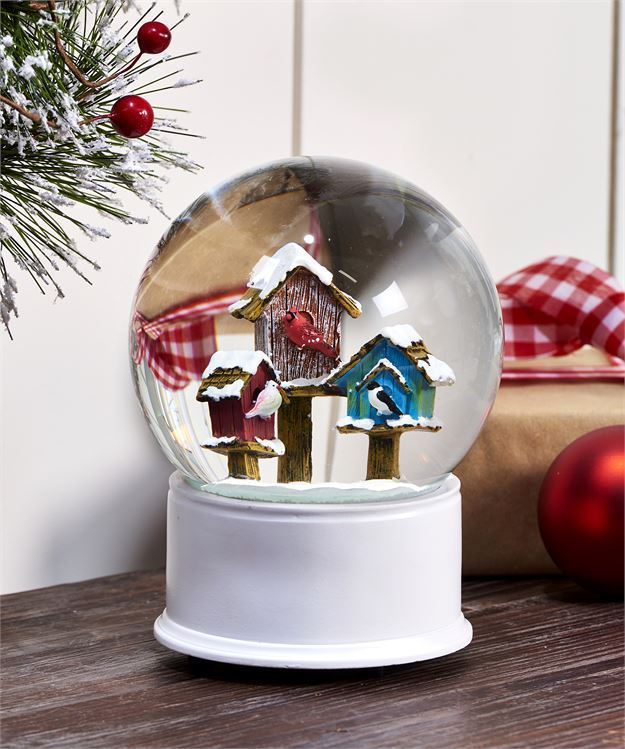 Birdhouse Design Musical Water Globe w Red, White, Blue & Brown Birdhouses Gift
