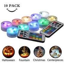 Idubai 10 Pack Submersible LED Lights with Remote, Small Underwater Fountain Pon