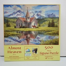 """SunsOut """"Almost Heaven"""" by Jack Sorenson 500 PC Horse Church Pond Jigsaw... - $9.50"""