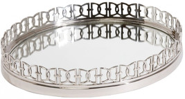 Ethan Allen Oval Link Mirrored Tray, Polished Nickel - $331.66