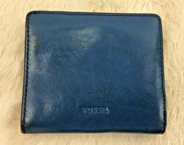 Fossil Black Leather Mini Wallet Credit Card Minimalist Billfold Womens - $24.74