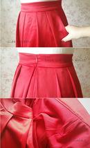 High Waisted Red Midi Length Pleated Skirt Plus Size Pleated Midi Taffeta Skirt image 3