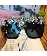 Crystal Luxury Sunglasses Women Bling Rhinestone Oversize Square glasses... - $34.99