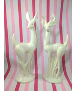 Mid Century Modern Tall Deer Statues • Large Buck and Doe Ceramic Figuri... - $60.00
