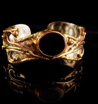 Vintage Artisan gothic Bracelet - brass overlay cuff black onyx - womens... - $95.00