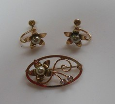 Vintage Signed Van Dell 1/20 12K Gold Filled Floral/Pearl Brooch & Earrings - $97.02