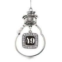 Inspired Silver Number 49 Classic Snowman Holiday Decoration Christmas Tree Orna - $14.69
