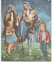 Vintage Christmas Card Pelagie Doane Holy Family and Children  1950's - $12.86