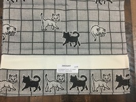 Zweigart Cat Kitchen Towel 100% Cotton 11 Count Cross Stitch Black & White - $7.55