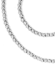 "18K WHITE GOLD CHAIN FINELY WORKED SPHERES 2 MM DIAMOND CUT BALLS, 16"", 40 CM image 2"