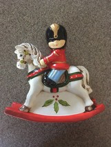 Enesco 1983 Christmas Toy Soldier on Rocking Horse Bank  - MISSING CAP - $9.95