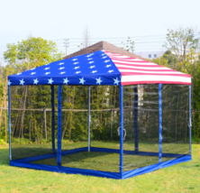 Pop Up Canopy Tent Mesh Wall American Flag Prin... - $198.90