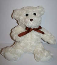 "Dan Dee Ivory SWIRL Cream Plush TEDDY BEAR 12"" Brown Bow Stuffed Animal ... - $19.26"