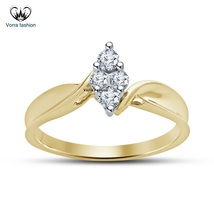Bypass Engagement Ring In Yellow Gold Plated 925 Silver Round Cut White ... - ₨5,777.87 INR