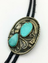 Vintage Western Style Bolo Tie Sterling Silver? Fancy Work Turquoise Stones - $85.45