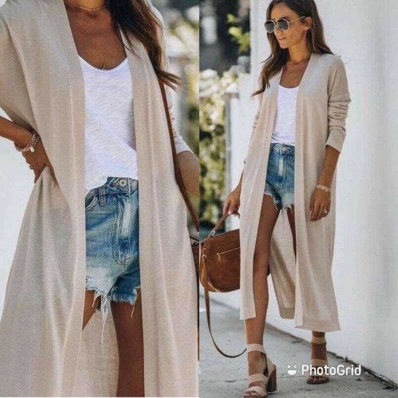 Primary image for Women's long line cream pocketed knit open front cardigan sweater