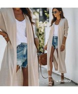 Women's long line cream pocketed knit open front cardigan sweater - $23.99