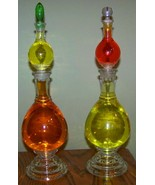 Antique glass pharmacy medicine apothecary show globe bottles matched pair - $395.00
