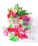 20/50/pcs Cute Pet Grooming Accessories Dog Hair Bows With Rubber Bands ... - $19.99