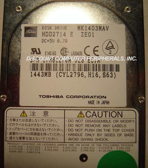 "MK1403MAV Toshiba HDD2714 1.4GB 2.5"" 12MM IDE Drive Free US Ship Our Drives Work"