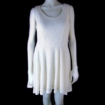EXPRESS Dress M Cream Lacy Stretch Sleeveless Short Full Skirt NEW NWT - $21.83