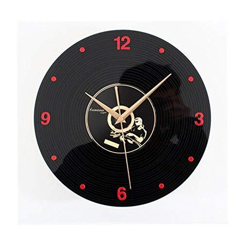 PANDA SUPERSTORE Retro Black Plastic CD Wall Clock Fashion Look Home Decoration(