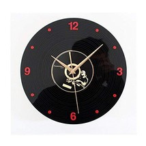 PANDA SUPERSTORE Retro Black Plastic CD Wall Clock Fashion Look Home Decoration(