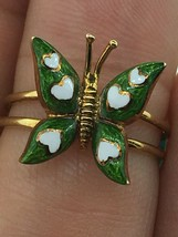 Vintage (ca. 1950) 14K Yellow Gold Butterfly with Green and White Enamel... - $565.00