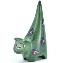 Vaneal Group Hand Crafted Carved Soapstone Tiny Miniature Green Cat Figurine image 2