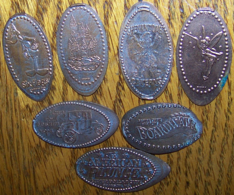 Primary image for LOT 7 ELONGATED CENT PENNY WALT DISNEY THEME PARK