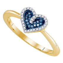10kt Yellow Gold Round Blue Colored Diamond Heart Love Fashion Ring 1/10... - £105.95 GBP