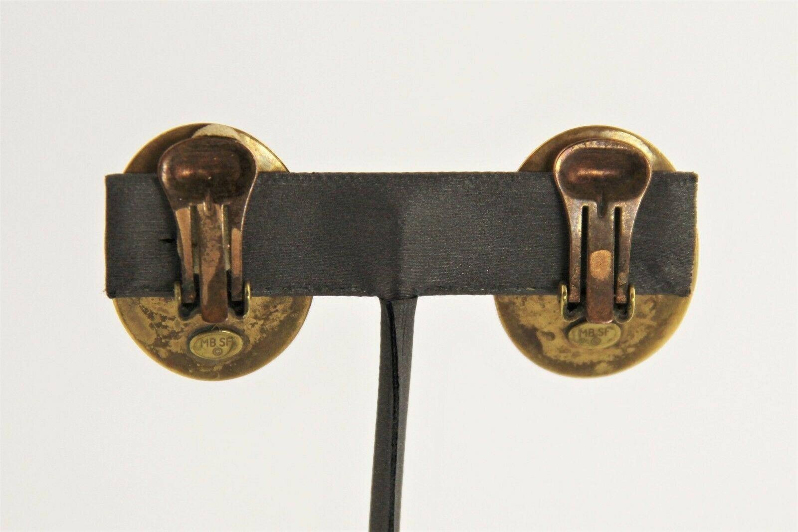 VINTAGE Jewelry MBSF MARJORIE BAER SAN FRANCISCO BRASS MODERNIST CLIP EARRINGS