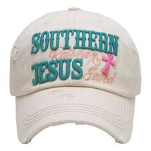 """SOUTHERN RAISED & JESUS SAVED "" Embroidered, Vintage Style Ball Cap image 4"