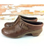 "MERRELL Womens Size 11 Clogs Luxe Plunge Brown Leather 2.5"" Heel Slip On... - $12.86"