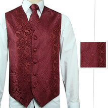 Burgundy Paisley Tuxedo Suit Dress Vest Waistcoat & Neck tie and Pocket ... - $22.75+