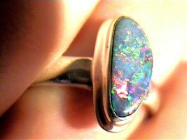 STERLING 925 SILVER AUSTRALIAN OPAL RING 9 solitaire natural pear NICE S... - $60.59