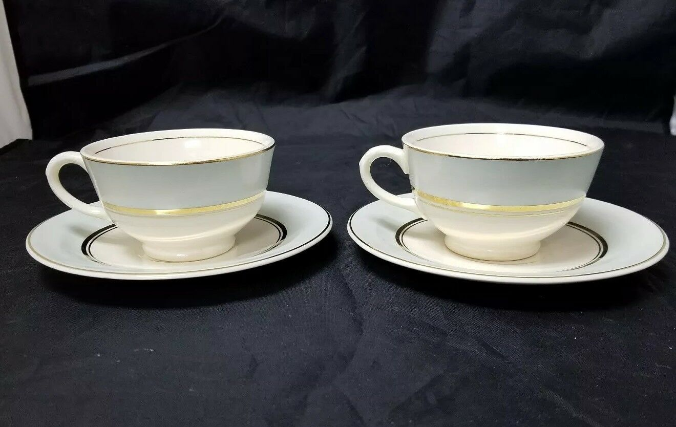 The French Saxon China Co Tea Cup & Saucer Set of 2, 22kt Gold, Pottery Made USA image 8