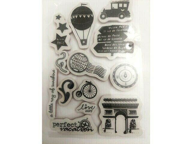 Travel/Vacation Rubber Cling Stamp Set