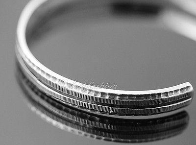Mens Sterling Silver Bracelet Simple Graved Pattern Bangle Hip Hop Biker b26 image 2