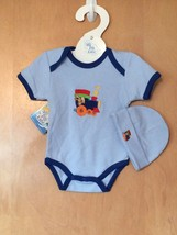 Baby Boy's Train Onesie & Hat Set 0-6 Months - $15.00