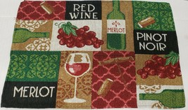 "Set of 4 Tapestry Placemats, 13""x19"", WINE BOTTLES, CORKS & GRAPES PATCH... - $19.79"