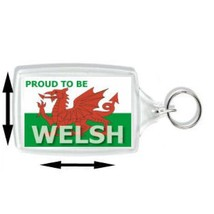 proud to be welsh, wales the red dragon keyring  handmade in uk from uk made par